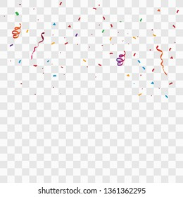 Confetti And Streamer Ribbon Falling On Transparent Background. Vector EPS10