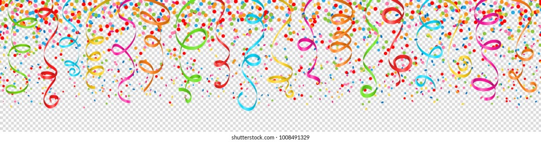 confetti and streamers colorful transparent background