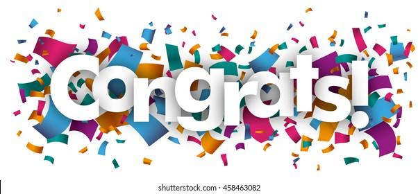 Confetti with text Congrats. Eps 10 vector file.