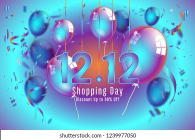 Confetti and Titanium rainbow ribbons celebration of twelve and twelve in december on colorful background as discount , shopping day template concept. vector illustration
