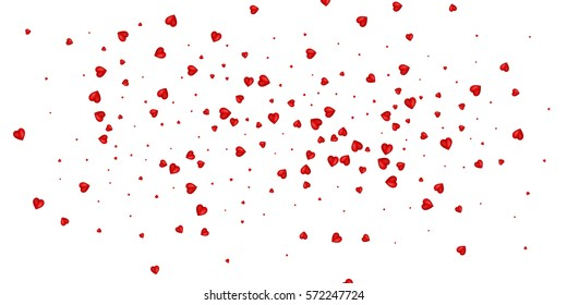 Confetti of Valentines petals falling on white background. Flower petal in shape of heart confetti. Valentines card