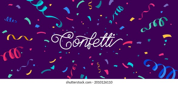 Confetti vector banner background with colorful serpentine ribbons, place for yours text at the center. Anniversary, celebration, greeting illustration in flat simple cartoon style with fun explosion.