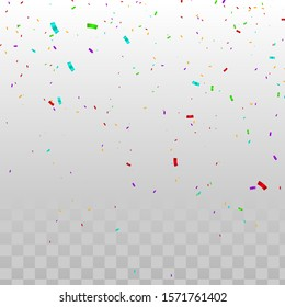 Confetti vector illustration. colorful confetti on transparent background