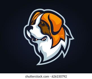 Confidence Angry Dog Breed Character Logo - Saint Bernard