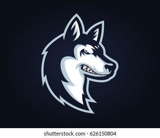 Confidence Angry Dog Breed Character Logo - Siberian Husky