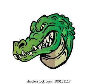Confidence Leadership Animal Head Logo - Crocodile Character