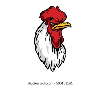 Confidence Leadership Animal Head Logo - Rooster Character