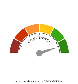 Confidence level scale with arrow. The measuring device icon. Sign tachometer, speedometer, indicators. Infographic gauge element.