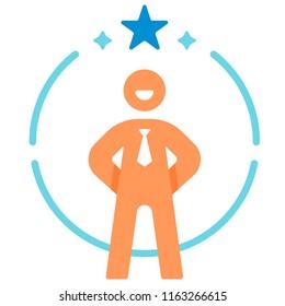 Confidence salaryman icon in flat color design vector illustration