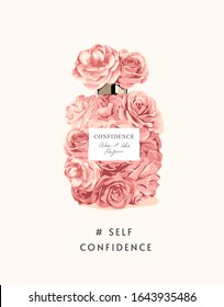 confidence slogan with pink roses in perfume bottle shape illustration