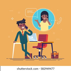 Confident african american businessman standing cross-legged, leaning on a table and talking on the phone with a woman.  Business contact concept. Vector.