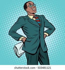Confident African businessman pop art retro illustration. African American people