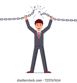 Confident and angry business man breaking chain. Business concept of liberation from credit slavery. Difficulties overcoming metaphor. Flat style vector illustration isolated on white background.