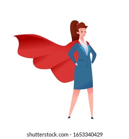 Confident attractive business woman standing in suit and red cape. Office girl manager hero. Successful super hero entrepreneur. Vector professional man, concept of leadership, achievement and career