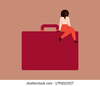 Confident black businesswoman sits on a large red briefcase. Strong african female entrepreneur with a handbag. Vector. Concept of participation of black women in leadership roles in business.