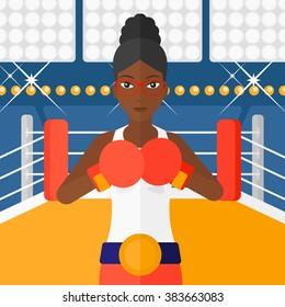 Confident boxer in gloves.