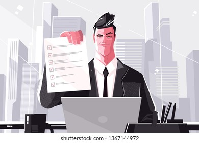Confident business man filled form. Vector illustration. Male in suit sitting behind personal table flat style design. Corporate accomplishment concept
