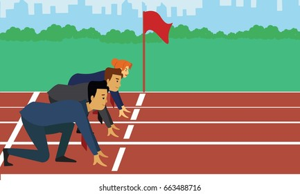 Confident business people getting ready for race. Business people competition concept illustration vector.