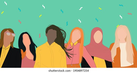 Confident business woman of different ethnicity stand together. Strong females entrepreneurs. Vector. Concept of equitable participation of women in politics and business.