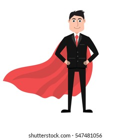Confident businessman in black suit and red cape