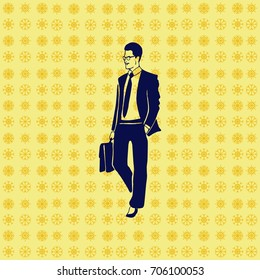 Confident businessman with a briefcase. Vector illustration.