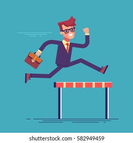 Confident businessman jumping over hurdle. Business concept of overcoming obstacles and achieving the goal. Vector illustration.