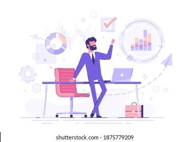 Zuversichtliche Geschäftsleute, die sich auf einem Tisch mit Geschäftsprozess-Symbolen und Infografiken auf dem Hintergrund orientieren. Unternehmenskarten und -diagramme. Vektorgrafik.