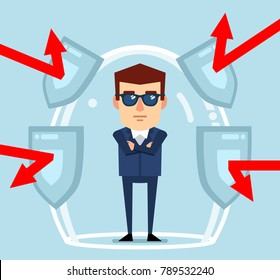 Confident businessman stands in a force field, protected from any dangers. Security, financial safety, insurance, full protection guarantee concept. Flat style vector illustration