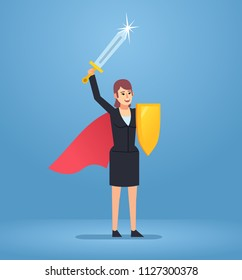 Confident businesswoman cheers with sword and shield in her arms. Super hero, successful boss, manager. Simple style vector illustration