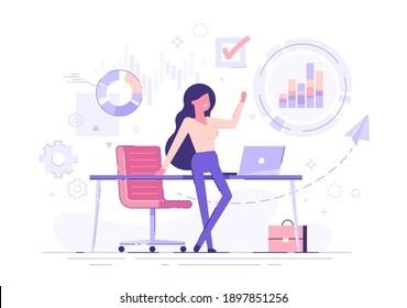 Zuversichtliche Geschäftsfrau, die sich auf einem Tisch mit Geschäftsprozesssymbolen und Infografiken auf dem Hintergrund befindet. Unternehmenskarten und -diagramme. Vektorgrafik.