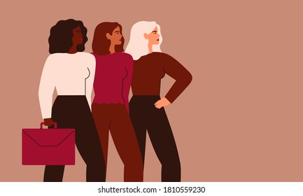 Confident businesswomen stand together. Strong females entrepreneurs support each other. Vector Concept of equitable participation of women in politics and business.
