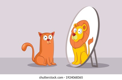 Confident Cat Looking in the Mirror Seeing a Lion. Motivational kitty feeling strong and believing in personal growth