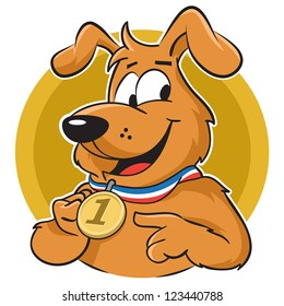 Confident dog proudly shows winning medal