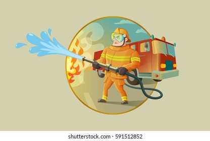 A confident fireman is putting out a fire. There is a fire truck on the background. A vector illustration.