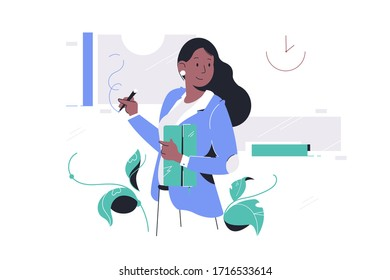 Confident happy african american businesswoman in suit drawing using pen holding clutch bag. Concept black smiling woman character mentor presenting new project at meeting. Vector illustration.