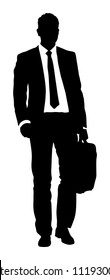 Confident leader standing. Businessman go to work vector silhouette illustration. Handsome man in suite with suitcase. Standing casual pose. Lawyer man walking. Young yuppie lawyer. Secret agent.