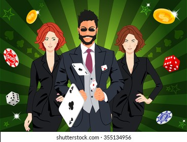 Confident lucky man surrounded by beautiful women throws aces. Design concept for gambling luck ans successful play. Use for print products, page and web decor or other design.
