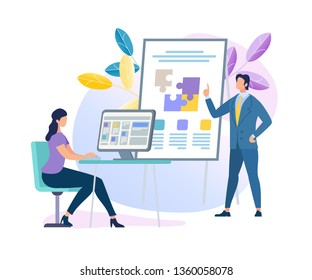 Confident Male Business Coach Character Making Presentation Pointing on Flip Board with Puzzle Pieces for Freelance Young Woman Sitting on Chair at Desk with Computer. Cartoon Flat Vector Illustration