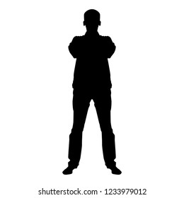 Confident man crossed his arms Business man silhouette concept front view icon black color