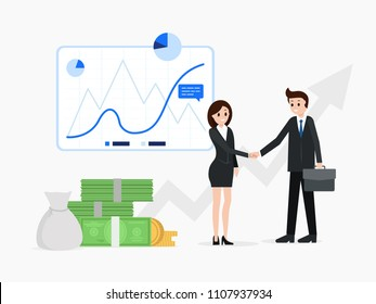 Confident man and woman in suits shaking hands vector illustration. Businesswoman and businessman after successful business meeting. Searching ways of increasing income