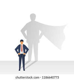 Confident power. Superhero shadow. Successful businessman in suit. Business leadership, isolated on background. Vector illustration flat design.