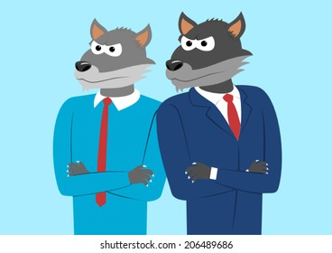 Confident wolf in a suit and wolf in a shirt