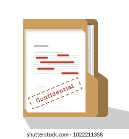Confidential and classified data, top secret data concept illustration. paper with folder and label file confidential. flat vector illustration