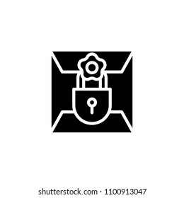 Confidential letter black icon concept. Confidential letter flat  vector symbol, sign, illustration.