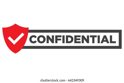 "Confidential red stamp vector, isolated on white. Flat badge, banner with text ""Confidential""."