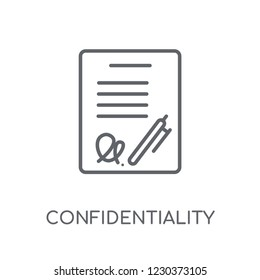 Confidentiality agreement linear icon. Modern outline Confidentiality agreement logo concept on white background from Human Resources collection.
