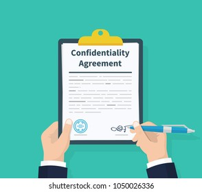 Confidentiality agreement. Man hold information consent. Pen in hand signing papers. Clipboard with documents in the hands of men. Flat design, vector illustration on background