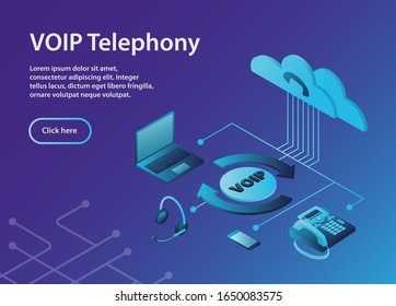 The configuration scheme of the VoIP system.Concept VOIP telephony, isometric, example site page. VOIP Telephony Scheme with ip-telephone