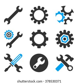 Configuration Tools vector icons. Style is flat bicolored symbols painted with blue and gray colors on a white background, angles are rounded.
