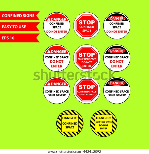 Confined Space Signs Keep Out Unless Stock Vector (Royalty